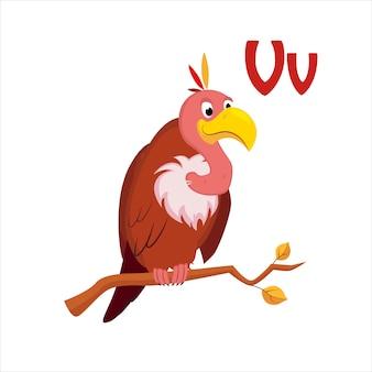 Vautour. alphabet drôle, illustration vectorielle animale