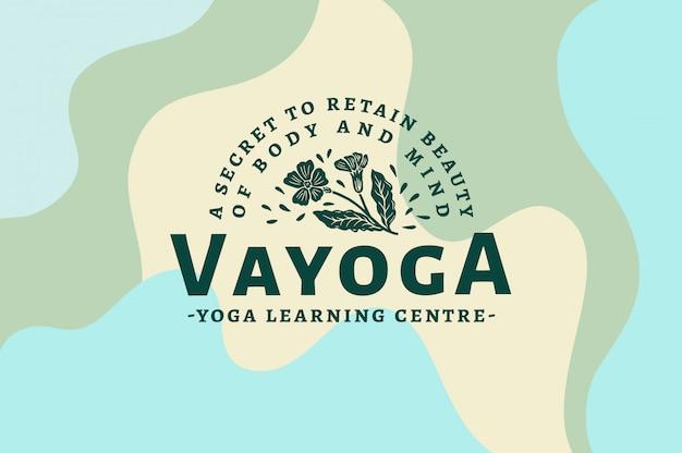 Vayoga - modèle de logo de centre d'apprentissage yoga texte, couleur et contour entièrement modifiables