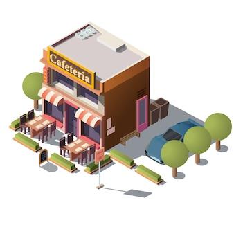 Vecteur 3d cafétéria isométrique, restaurant avec véranda