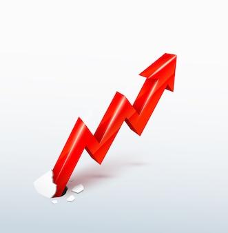 Vecteur 3d flèche rouge montante perce la surface, concept de croissance irrépressible