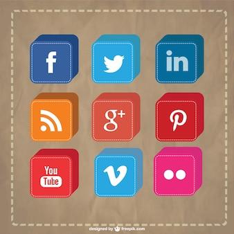 Vecteur 3d icônes des médias sociaux fixés