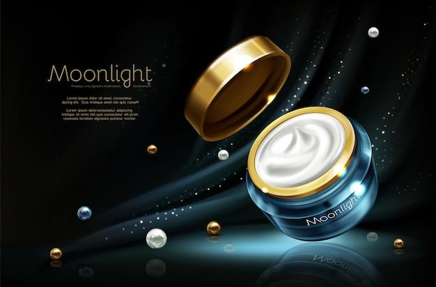 Vecteur 3d publicité cosmétique réaliste maquette - crème de nuit en pot
