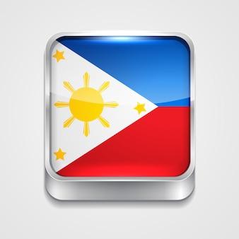 Vecteur 3d style drapeau icône des philippines