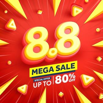 Vecteur de 88 affiche ou bannière de la journée de shopping avec 8 sur fond rouge