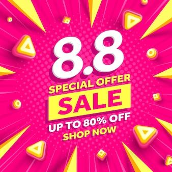 Vecteur de 88 affiche de la journée de magasinage ou banner8 conception de modèle de bannière de vente d'août