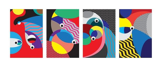 Vecteur abstrait coloré géométrique curvy fond