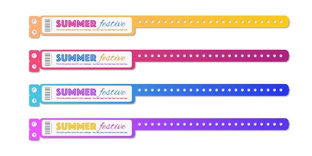 Le vecteur d'accès à l'événement de bracelet a défini une couleur différente pour la zone des fans d'identification ou le concert d'entrée de la fête vip