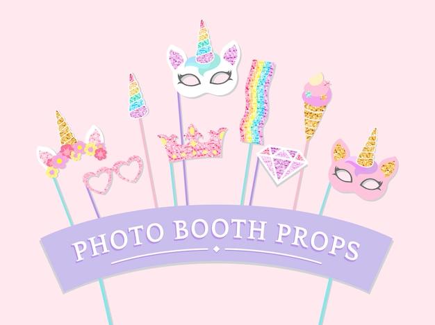 Vecteur d'accessoires de fête mignon photo booth licorne
