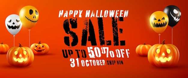 Vecteur d'affiche ou de bannière de promotion de vente d'halloween avec des ballons de citrouille et de fantôme d'halloween