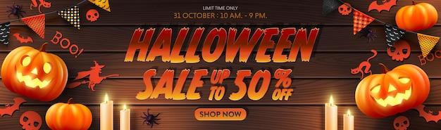 Vecteur d'affiche ou de bannière de promotion de vente d'halloween avec halloween pumpkinghostcandlelbuntings