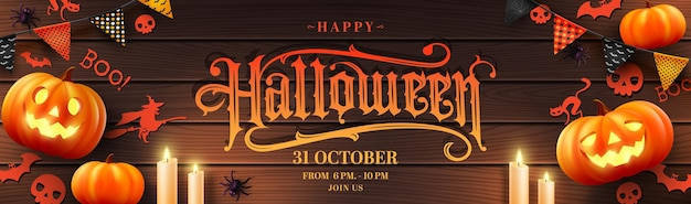 Vecteur d'affiche d'halloween ou de bannière avec halloween pumpkincandlelight et éléments d'halloween