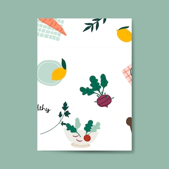 Vecteur d'affiche de nourriture végétalienne saine