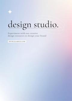 Vecteur d'affiche de studio de conception sur un graphique dégradé violet et rose pastel