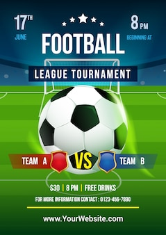 Vecteur d'affiche de tournoi de ligue de football