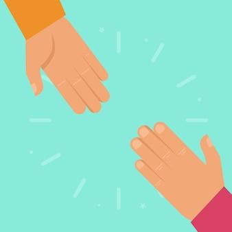 Vecteur aidant les mains dans un style plat