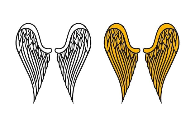 Vecteur d'ailes d'ange isolé sur blanc
