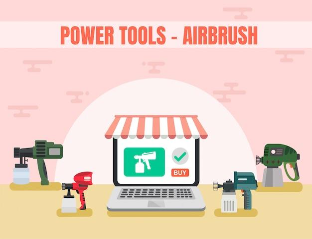 Vecteur airbrush de magasin d'outils en ligne
