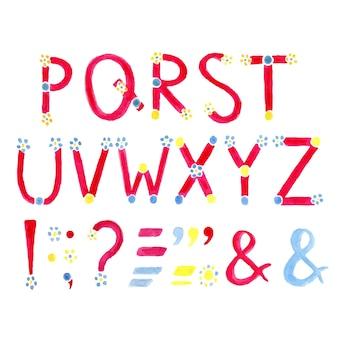 Vecteur de l'alphabet aquarelle