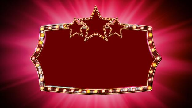 Vecteur d'ampoules de cadre doré. fond rouge. cadre étoile de la lampe. panneau d'élément de conception de cadre rétro. bannière marquee. fond
