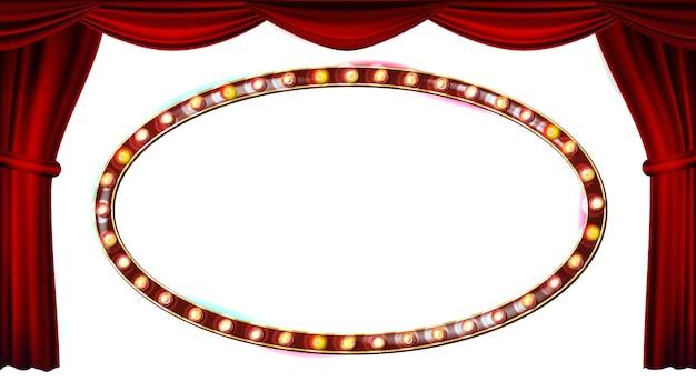 Vecteur d'ampoules de cadre doré. rideau de théâtre rouge. soie textile. shining rétro léger panneau d'affichage. illustration rétro réaliste