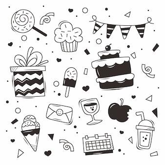 Vecteur d'anniversaire doodle