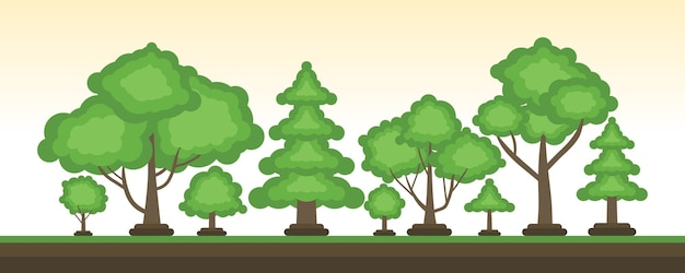 Vecteur d'arbre de dessin animé attrayant sertie d'arrière-plan