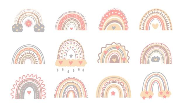 Vecteur arc-en-ciel mignon bohème dans des couleurs pastel