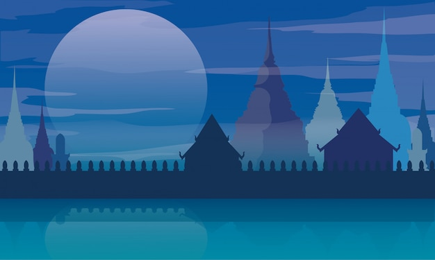 Vecteur d'architecture de paysage de temple thaïlande