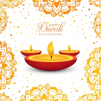 Vecteur d'arrière-plan décoratif happy diwali
