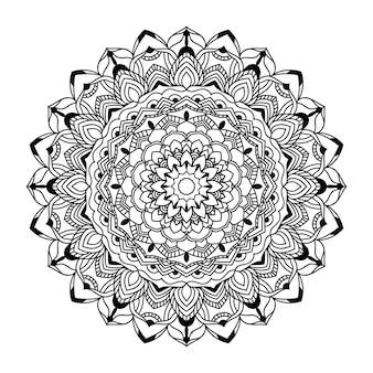Vecteur d'art mandala noir et blanc