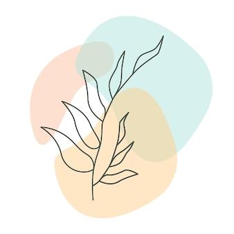 Vecteur D'art Mural Botanique. Dessin Au Trait De Feuillage Avec Une Forme Abstraite Pastel. Art Mural Minimaliste Et Naturel. Illustration Vectorielle Vecteur Premium