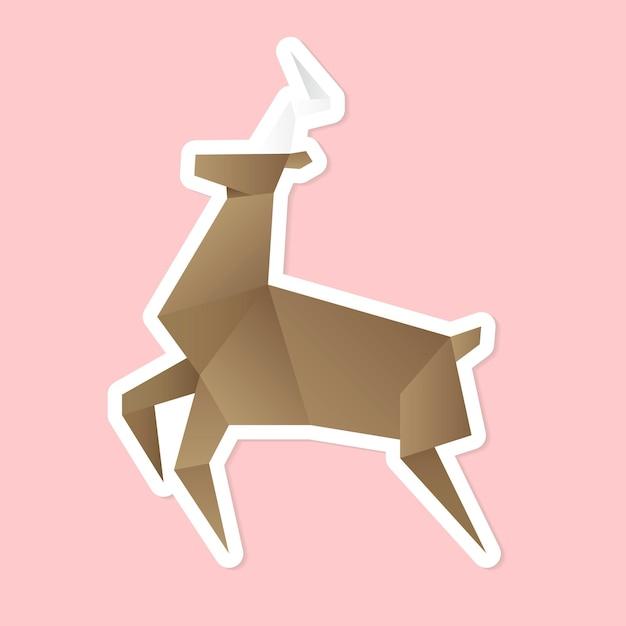 Vecteur d'artisanat animal origami cerf fait main