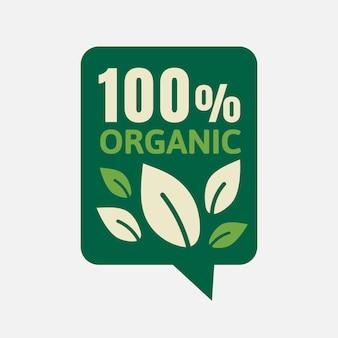 Vecteur d'autocollant de badge 100% biologique pour la campagne de marketing alimentaire
