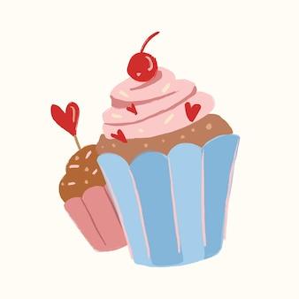 Vecteur d'autocollant de cupcake dessert mignon