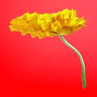 Vecteur d'autocollant de fleur de renoncule, art psychédélique trippy jaune