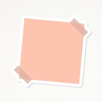 Vecteur d'autocollant de journal de papier à lettres en pointillé rose saumon