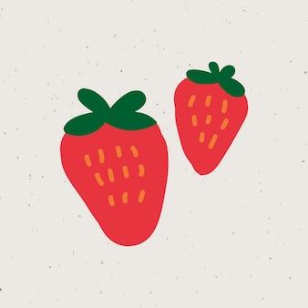 Vecteur d'autocollant mignon fraises doodle