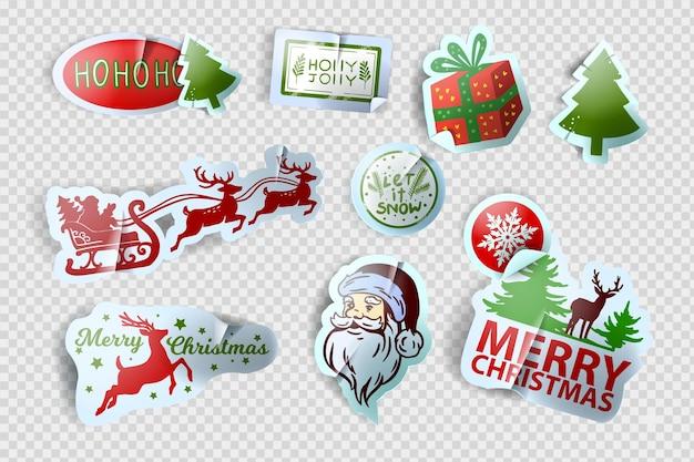 Vecteur d'autocollant de noël mis en kit d'étiquettes de vacances d'hiver de noël nouvel an mignon tag santa illustration