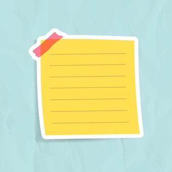 Vecteur d'autocollant de note de rappel jaune