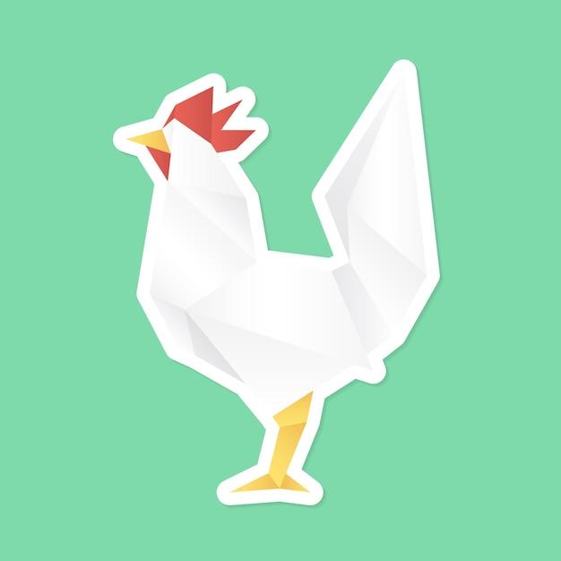 Vecteur d'autocollant de poulet origami découper la vue latérale