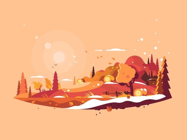 Vecteur d'automne de paysage. nature automnale et illustration de feuilles d'or tombantes