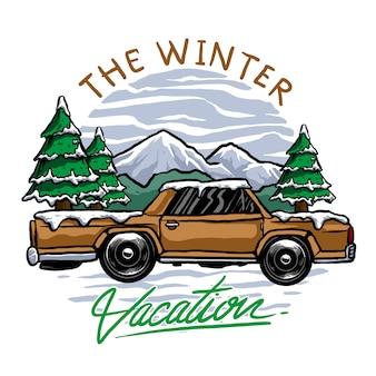 Vecteur d'aventure de voiture classique ou vintage en hiver