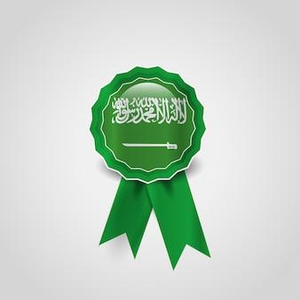 Vecteur de badge design arabie saoudite drapeau
