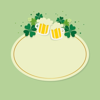 Vecteur de badge ovale blanc st.patrick's day