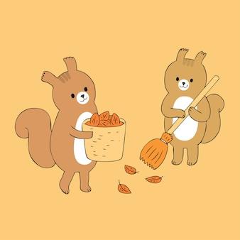 Vecteur de balayage mignon écureuils d'automne.