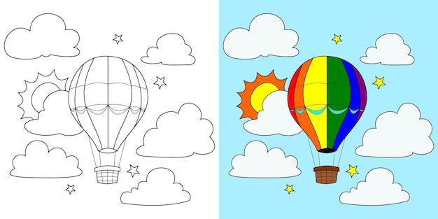Vecteur de ballon à air, soleil, nuage, étoile, livre de coloriage ou page, illustration vectorielle