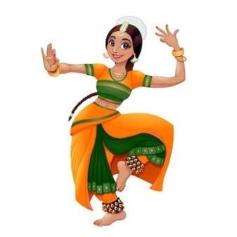 Vecteur de bande dessinée de danseuse indienne caractère isolé