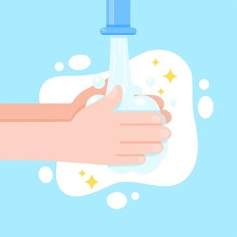 Vecteur de bandes dessinées à la main avec du savon et de l'eau pour tuer les virus