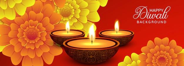 Vecteur de bannière colorée élégant joyeux diwali