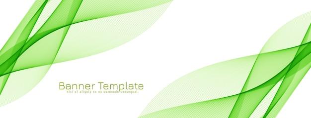 Vecteur de bannière desgn vague de couleur verte abstraite